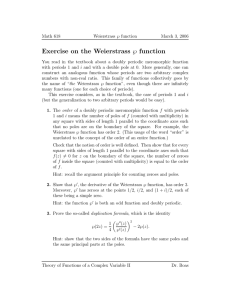 ℘ function Exercise on the Weierstrass