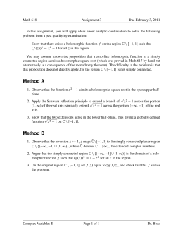 Math 618 Assignment 3 Due February 3, 2011