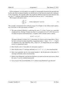 Math 618 Assignment 2 Due January 27, 2011