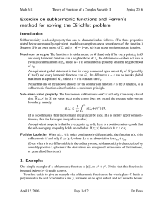 Exercise on subharmonic functions and Perron's Introduction