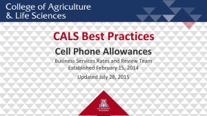 CALS Best Practices Cell Phone Allowances Business Services Rates and Review Team
