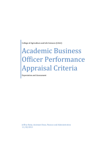 Academic	Business Officer	Performance Appraisal	Criteria