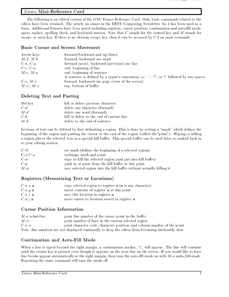 Mini-Reference Card Emacs