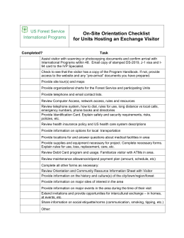 On-Site Orientation Checklist for Units Hosting an Exchange Visitor US Forest Service