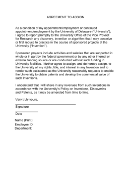 AGREEMENT TO ASSIGN  As a condition of my appointment/employment or continued