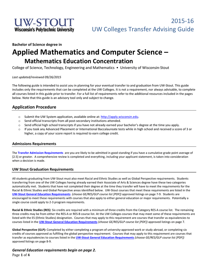 Applied Mathematics and Computer Science – 2015‐16 UW Colleges Transfer  Advising Guide