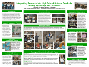 Integrating Research Into High School Science Curricula: Building Partnerships With Universities Introduction