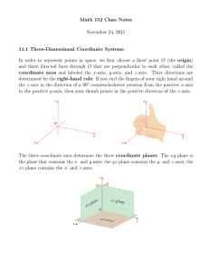 Math 152 Class Notes November 24, 2015 11.1 Three-Dimensional Coordinate Systems
