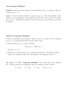 12.8 Lagrange Multipliers