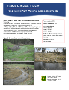 Custer National Forest  Title text here FY11 Native Plant Material Accomplishments