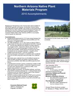Northern Arizona Native Plant Materials Program 2010 Accomplishments