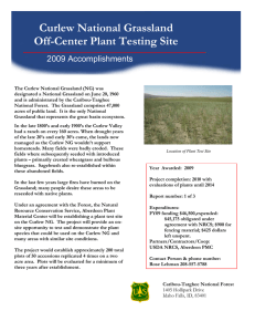 Curlew National Grassland Off-Center Plant Testing Site 2009 Accomplishments