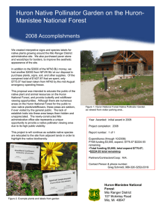 Huron Native Pollinator Garden on the Huron- Title text here 2008 Accomplishments