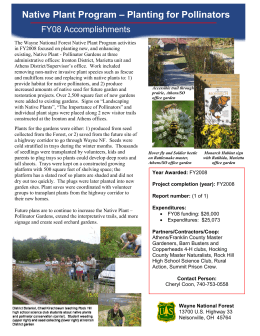 Native Plant Program – Planting for Pollinators FY08 Accomplishments