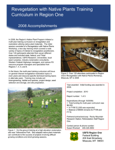 Revegetation with Native Plants Training Title text here Curriculum in Region One