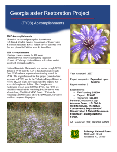 Georgia aster Restoration Project (FY08) Accomplishments
