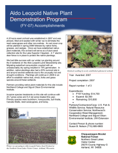 Aldo Leopold Native Plant Demonstration Program (FY-07) Accomplishments