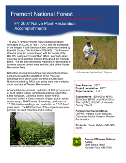 Fremont National Forest FY 2007 Native Plant Restoration Accomplishments