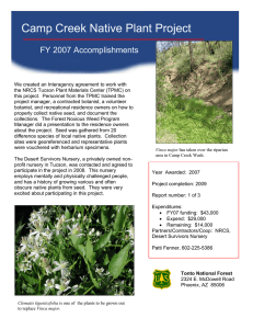 Camp Creek Native Plant Project FY 2007 Accomplishments