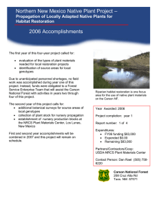 Northern New Mexico Native Plant Project – 2006 Accomplishments Habitat