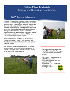 Native Plant Materials Training and Curriculum Development 2005 Accomplishments