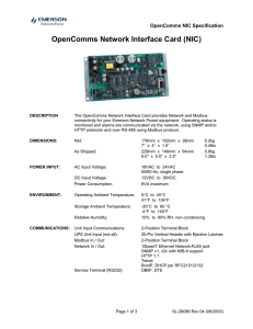 OpenComms Network Interface Card (NIC)  OpenComms NIC Specification