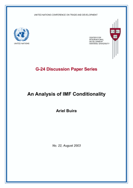 An Analysis of IMF Conditionality G-24 Discussion Paper Series Ariel Buira