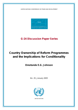 Country Ownership of Reform Programmes and the Implications for Conditionality