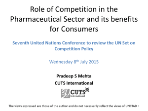 Role of Competition in the Pharmaceutical Sector and its benefits for Consumers