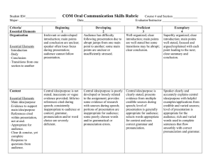 COM Oral Communication Skills Rubric