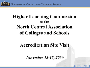 Higher Learning Commission North Central Association of Colleges and Schools Accreditation Site Visit