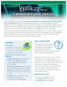 A Minor in PubliC HeAltH College of Health Sciences