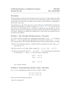 18.782 Introduction to Arithmetic Geometry Fall 2013 Problem Set #2 Due: 09/24/2013