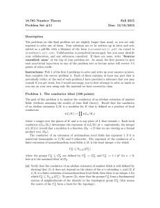 18.785 Number Theory Fall 2015 Problem Set #11 Due: 12/10/2015