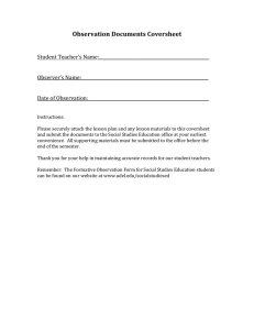 Observation Documents Coversheet