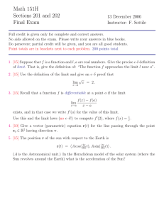Math 151H Sections 201 and 202 Final Exam 13 December 2006