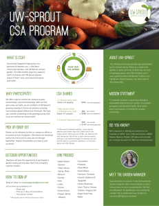 WHAT IS CSA? About uw-sprout