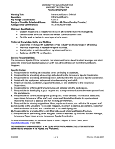 Position Description Working Title:  Intramural Sports Official