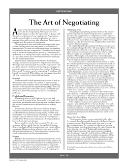 A The Art of Negotiating S T A F F