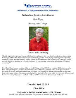 Gender and Computing Distinguished Speakers Series Presents Maria Klawe