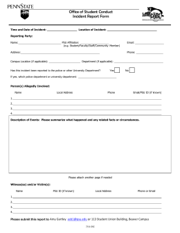 Office of Student Conduct Incident Report Form