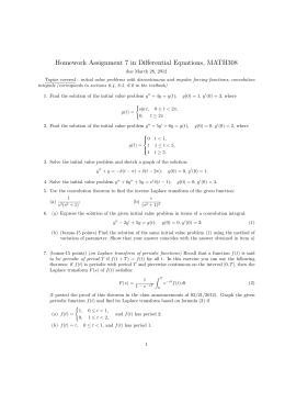 Homework Assignment 7 in Differential Equations, MATH308