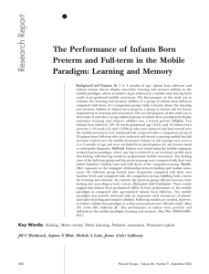 Report Research The Performance of Infants Born Preterm and Full-term in the Mobile