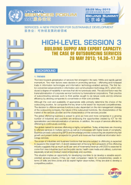 HIGH-LEVEL SESSION 3 Building Supply and Export CapaCity: 28 May 2013; 14.30–17.30