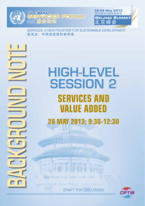 BACKGROUND NOTE HIGH-LEVEL SESSION 2 ServiceS and