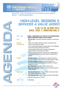HiGH-lEvEl sEssioN 2 ServiceS & value added 9.30–12.30, 28 May 2013