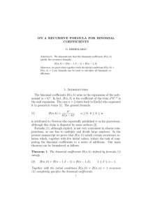 ON A RECURSIVE FORMULA FOR BINOMIAL COEFFICIENTS
