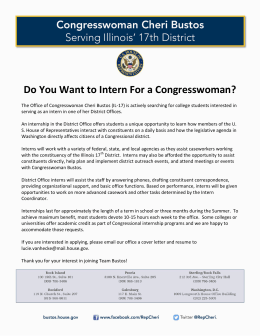 Do You Want to Intern For a Congresswoman?