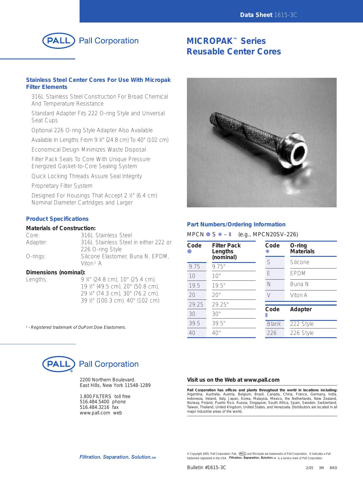 Micropak Series Reusable Center Cores Data Sheet