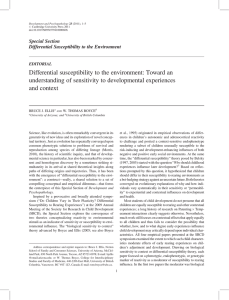 Differential susceptibility to the environment: Toward an